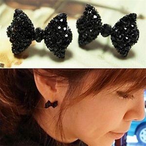 Jewelry - NWT Black Studded Sweet Bow Earrings